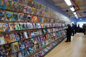 The new release wall at Midtown Comics on Fulton Street.